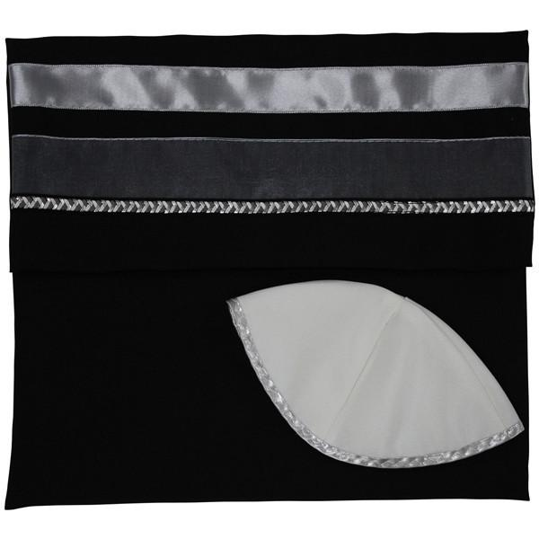 "Tallit Set - Solid Black & Silver Super Size! 18"" x 72"" (45/180 cm)"
