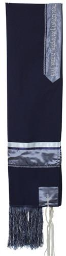 "Tallit Set - Solid Blue/Silver Viscose With Fringes 51x72"" (130/180 cm) #55 Viscose (as shown)"