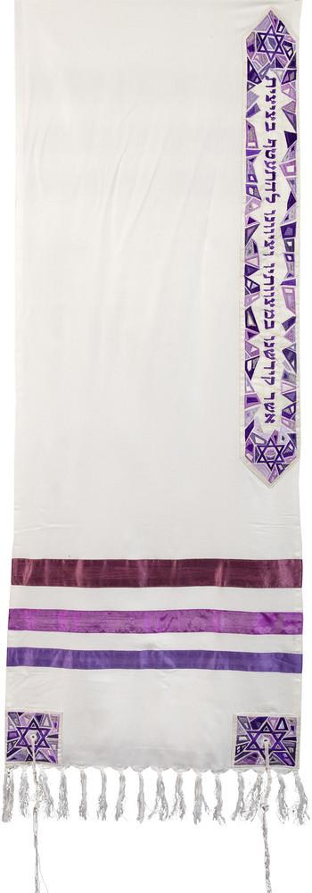Tallit Set - Star Of David Embroidered In Purple
