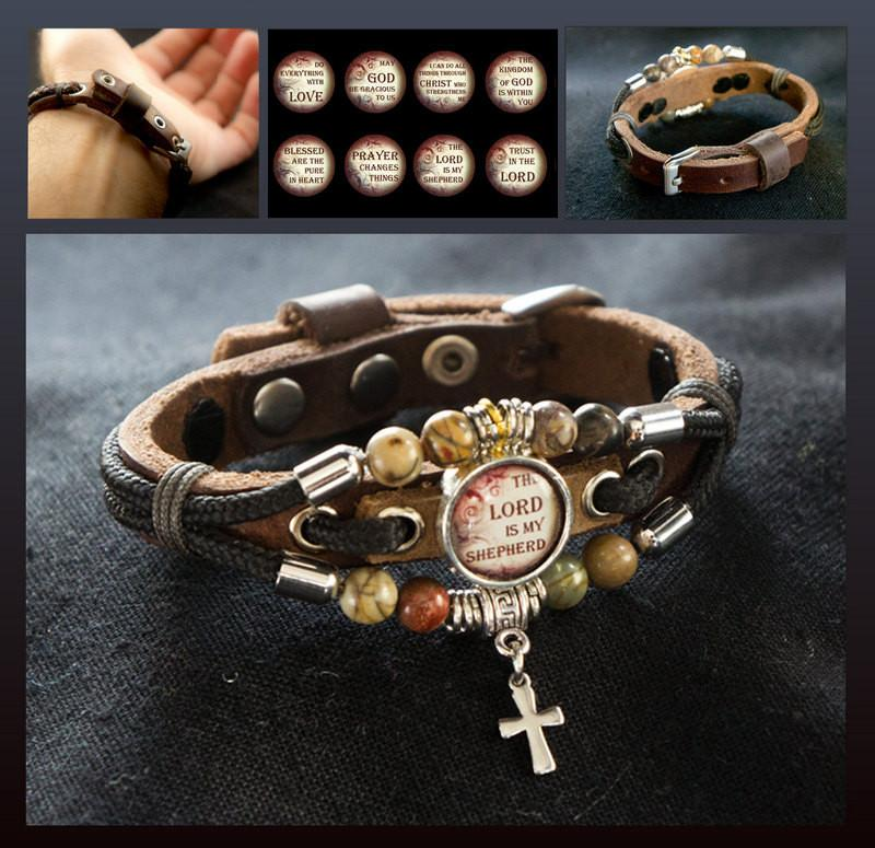 The Lord Is My Shepherd Bracelet, Christian Jewelry, Cross Bracelet For Him