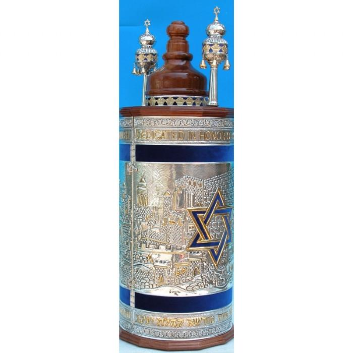 Torah Case - Pure Silver And Israel Design