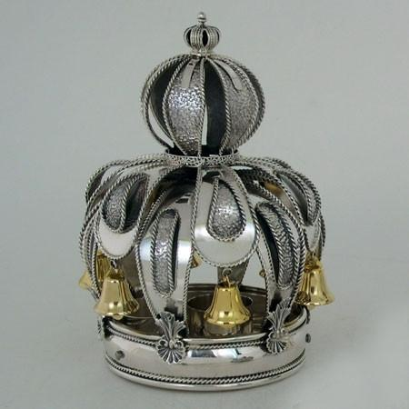 Torah Crown - Sterling Silver Gold Bells