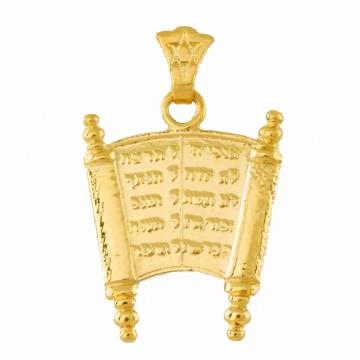 Torah Pendant With The 10 Commandments In 16 inches Chain (40 cm)