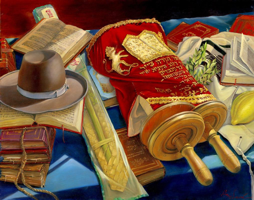 Torah Scroll , Hat and Lulav