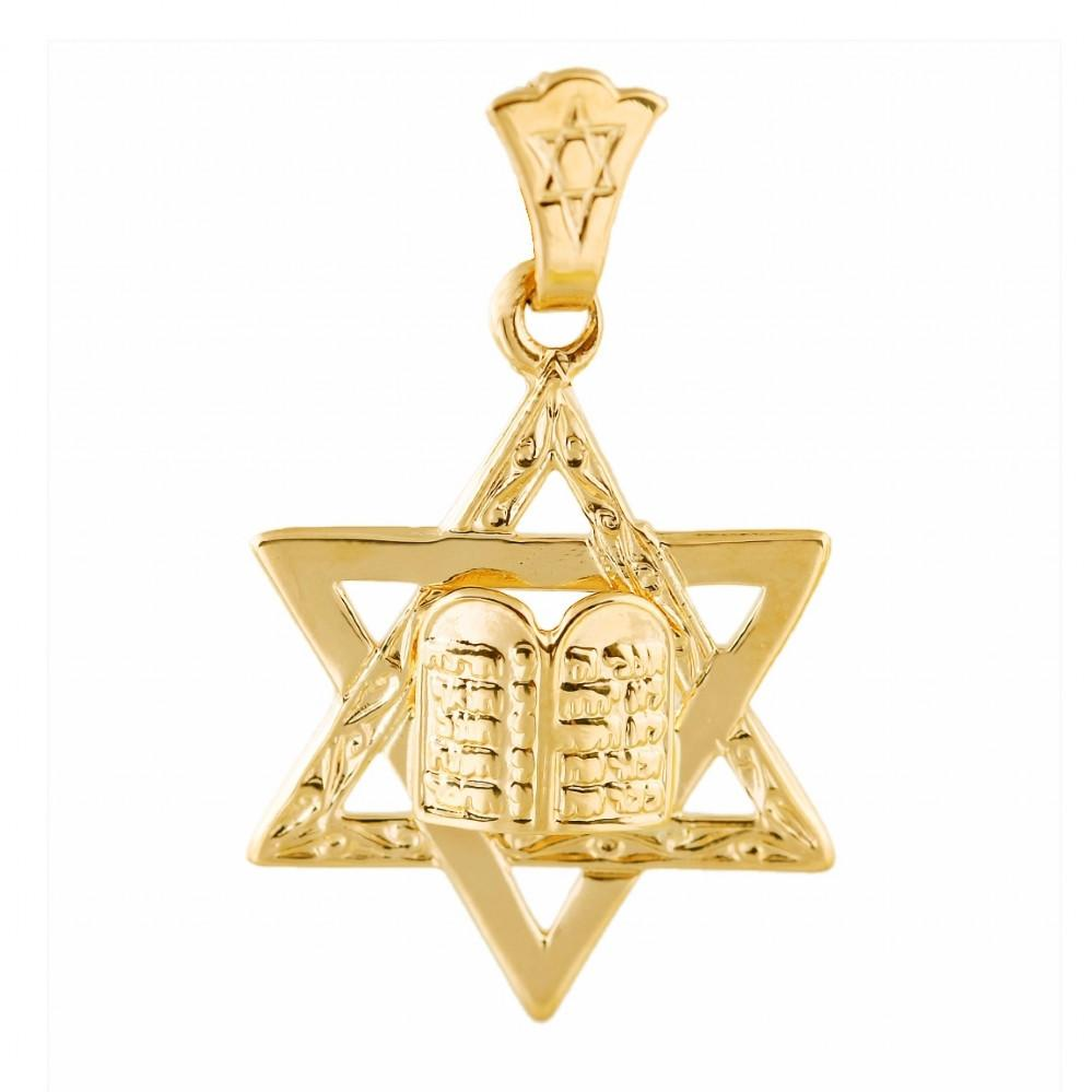 Traditional Star Of David With 2 Tablets 16 inches Chain (40 cm)