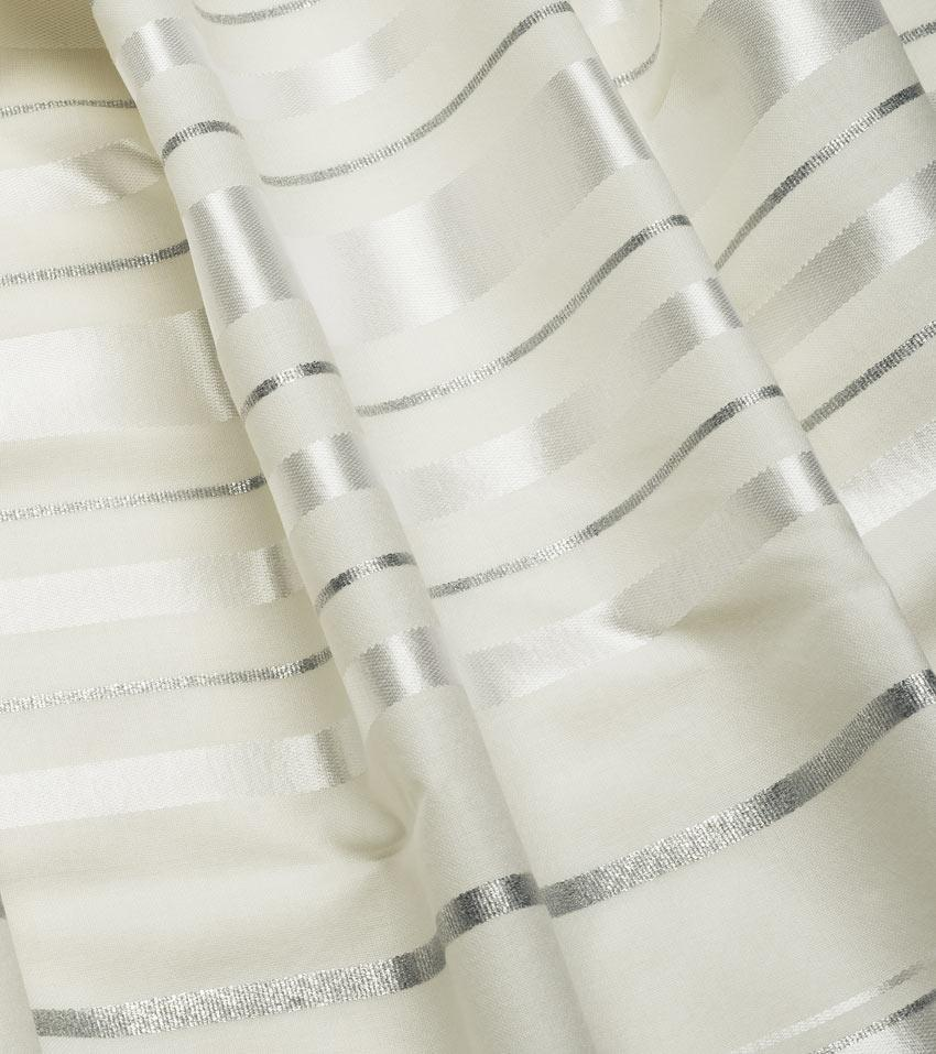 Traditional White/Silver Wool Tallit All White Silver Tallit