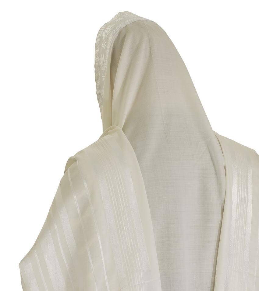 Traditional Wool Tallit All White Wool Tallit