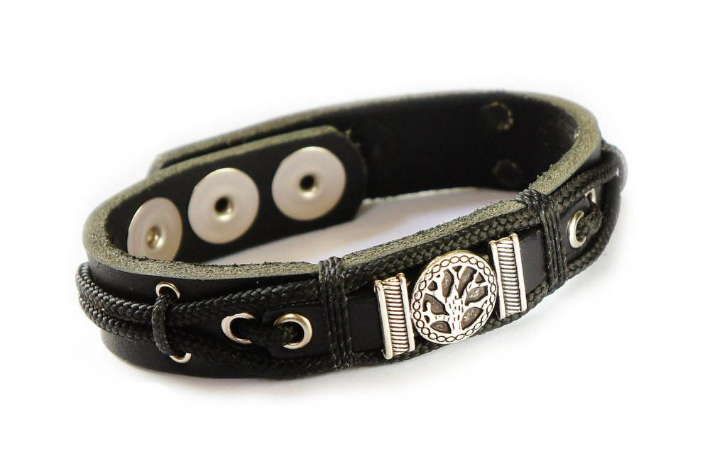 Tree Of Life Bracelet In Black Leather, Kabbalah Kabbalistic Jewelry For Him