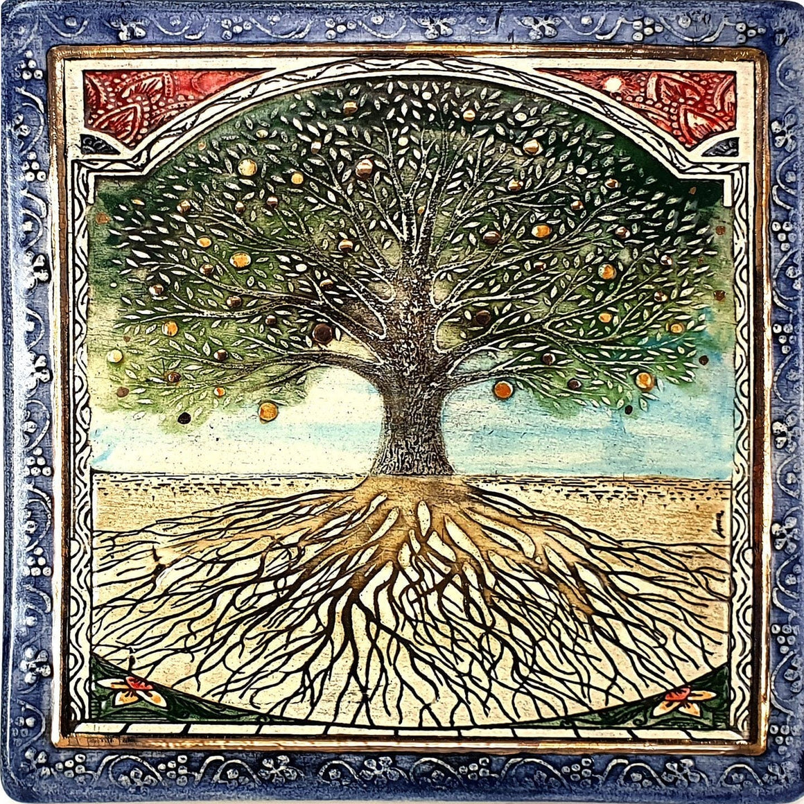Tree Of Life Handmade Ceramic Wall Plaque Amazing Art Big Plaque 19*19cm 24k Gold Ornaments