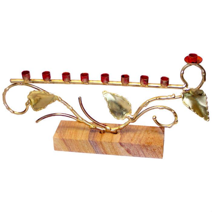 Tree Of Life Menorah On Stone By Gary Rosenthal In Brown,multi-Colored,red,silver Size: 6X11.5X2 Menorah