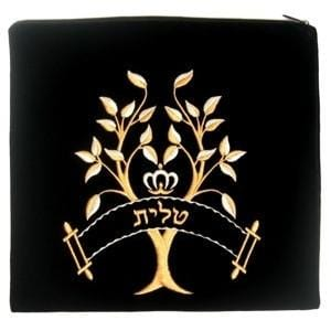 Tree Of Life Velvet Tallit Bag Small Black