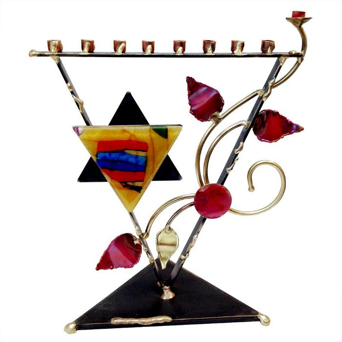 Triangular Tree Of Life Menorah By Gary Rosenthal In Multi-Colored,black,red,yellow,silver Size: 12 X 10 X 4 Menorah