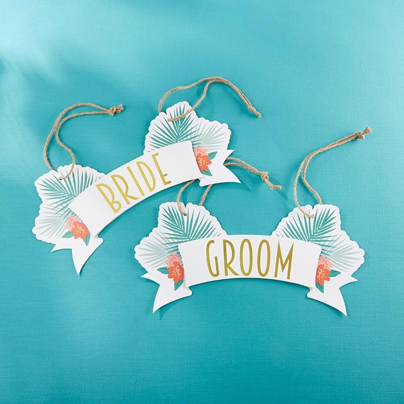 Tropical Chic Bride & Groom Chair Signs Tropical Chic Bride & Groom Chair Signs