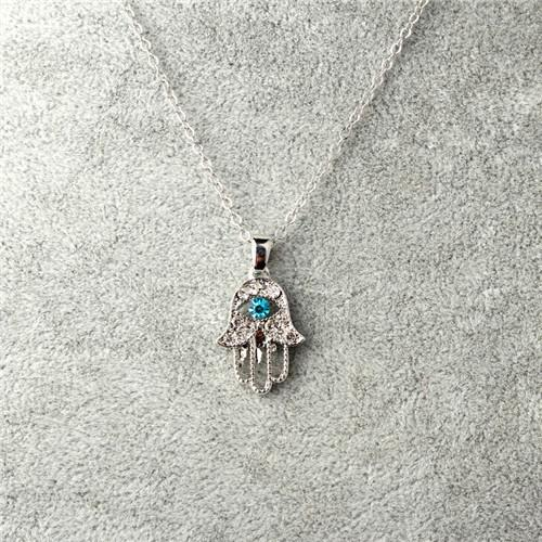 Turquoise Crystal Evil Eye Hand Hamsa Pendant Necklace jewelry Gold Plated