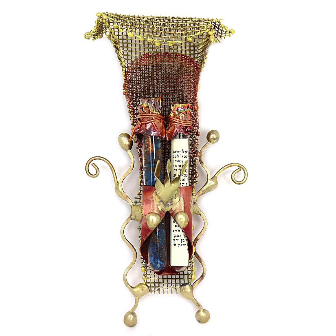 Under The Huppah Wedding Glass Keepsake Mezuzah Case & Stand By Gary Rosenthal, Keepsakes In Multi-Colored,gold Size: 2.5 W X 6 H Wedding Glass Keepsakes