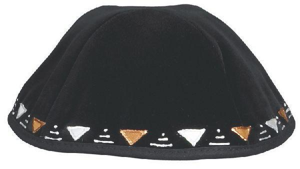 Velvet Applique Triangles. Available In Black/Navy.