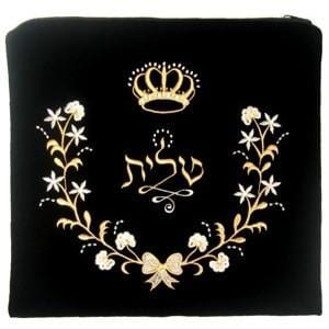 Velvet Tallit Bag Floral Design Black Large Embroidery to 10 letters