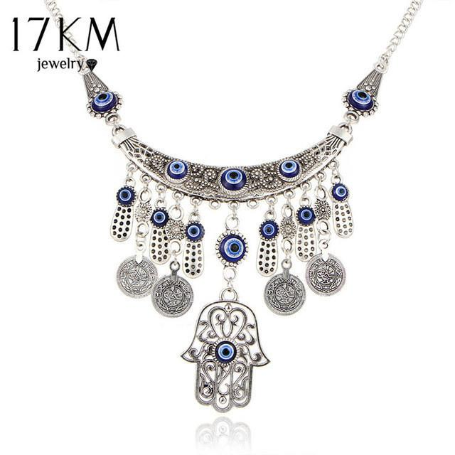 Vintage Silver Blue Hamsa Necklace For Women jewelry