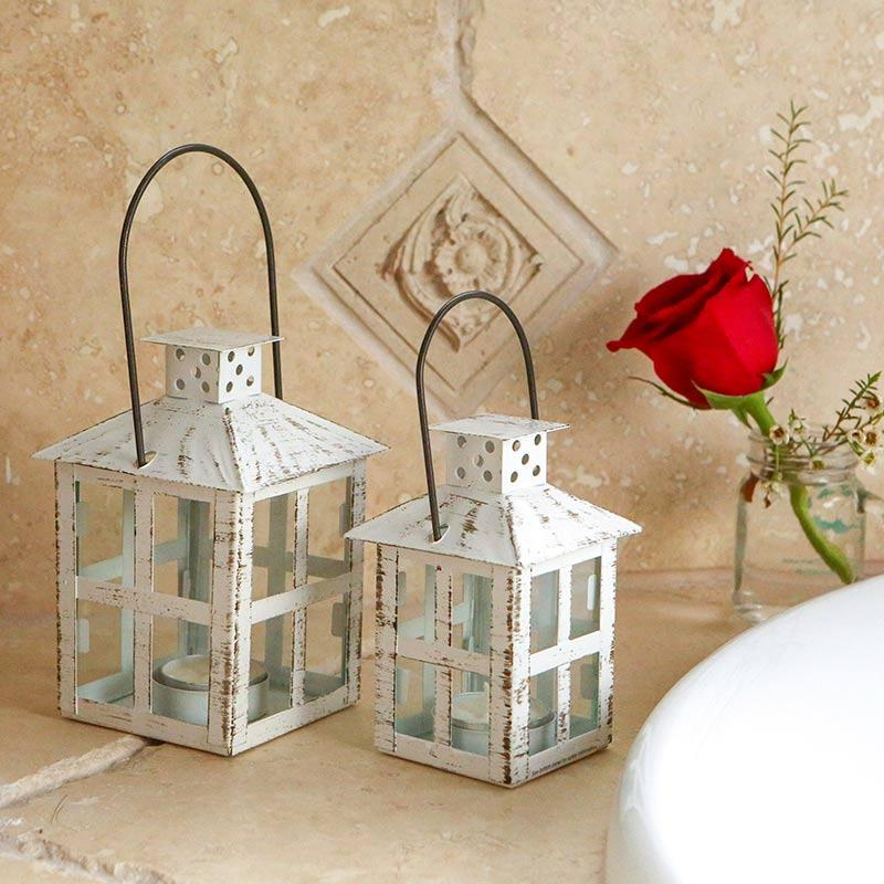 Vintage White Distressed Lantern - Small Vintage White Distressed Lantern - Small