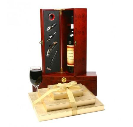 Vip Chocolate Tower And Wine Gift Set Gift Basket
