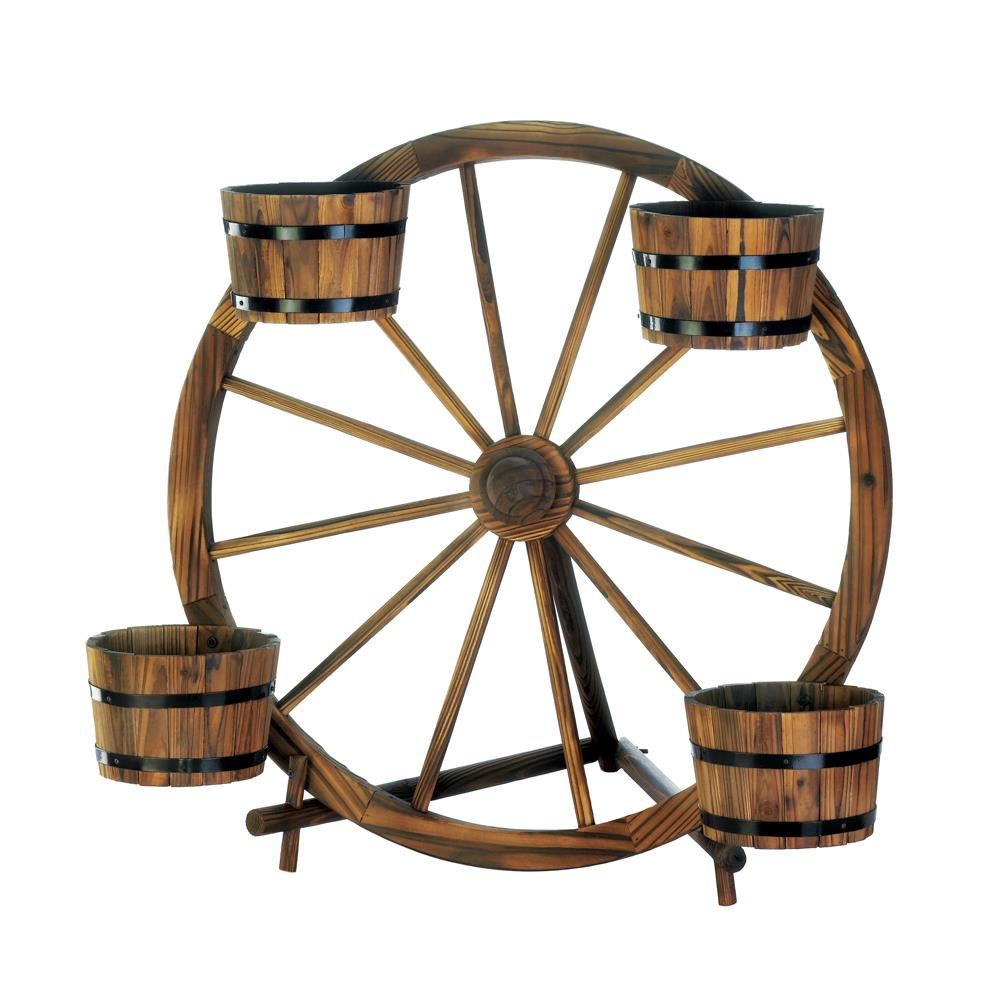 Wagon Wheel Barrel Planter Display Home Decor