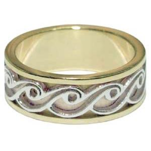 Wedding Band Ring - 2 Tone Gold Ocean Waves Swirls