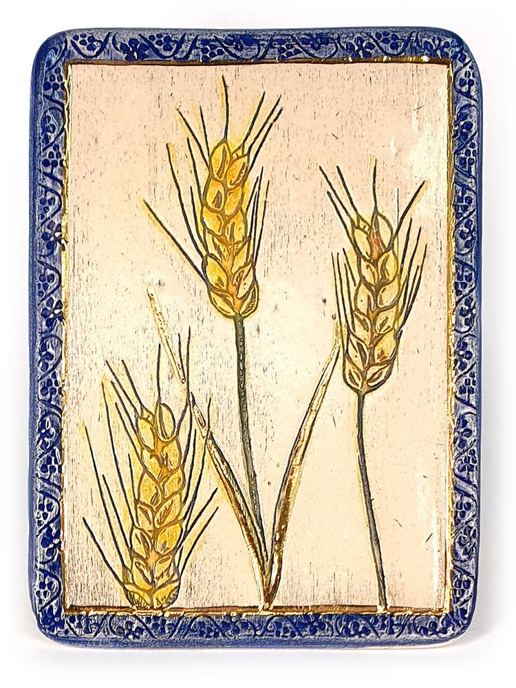 Wheat One of The Seven Species Ceramic Plaque Hand Made Decorated With 24k Gold Ornaments Plaque 12*17cm 24k Gold Ornaments