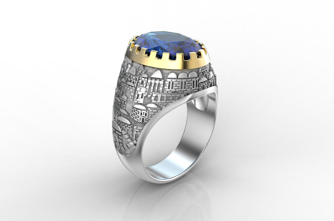 White and Gold Jerusalem Ring Yellow Gold Blue Sapphire