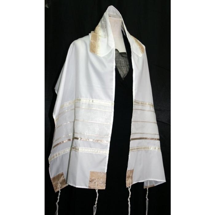 "White And Gold Stripe Organza Silk Tallit 51x72"" (130/180 cm) #55 Wool Embroidery to 10 letters"
