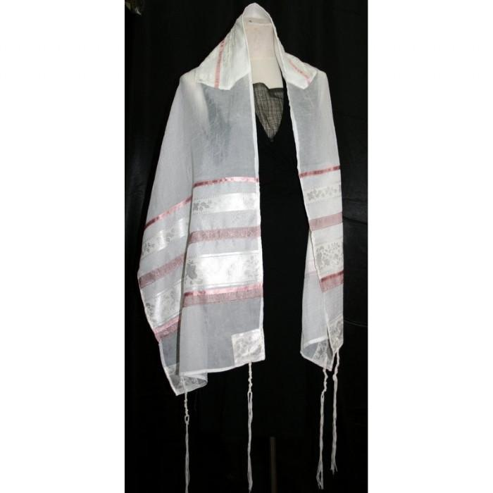 "White And Pink Stripe Organza Silk Tallit 51x72"" (130/180 cm) #55 Embroidery to 10 letters"