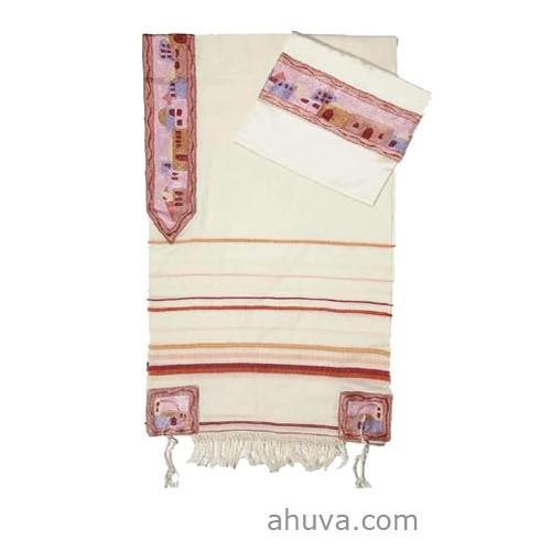 White And Pink Women'S Silk Tallit.
