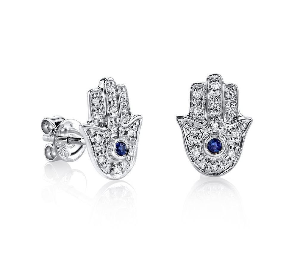 White Gold Diamond Stud Blue Sapphire Hamsa Earrings