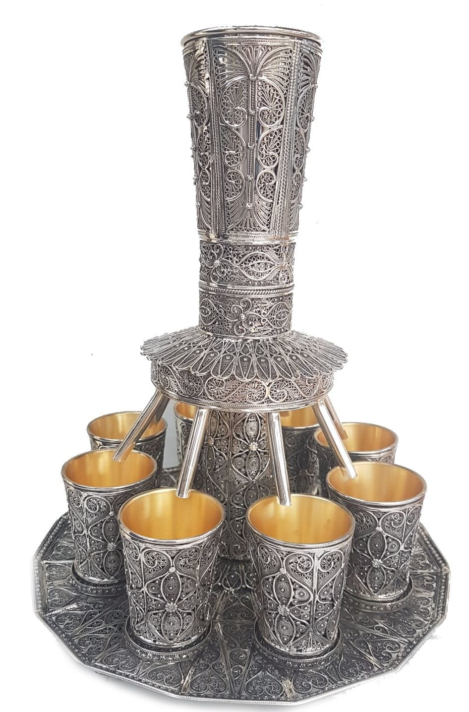 Wine Fountain - Silver Filigree Wine Set