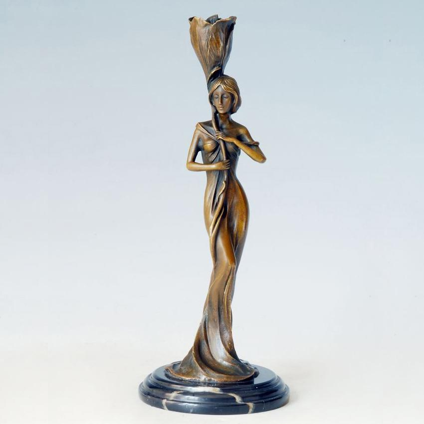 Woman of Valor Bronze Sculpture Candle Holder Jewish women