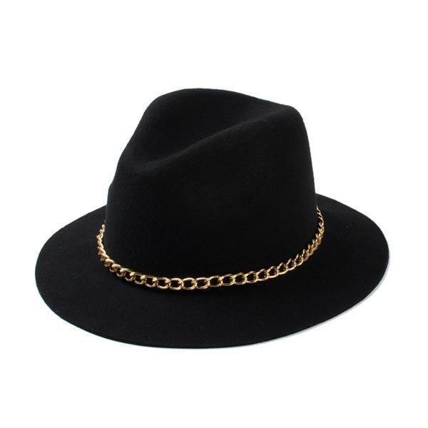 Women'S Wool Black / Burgundy / Red Fedora Hat With Gold Chain Headwear