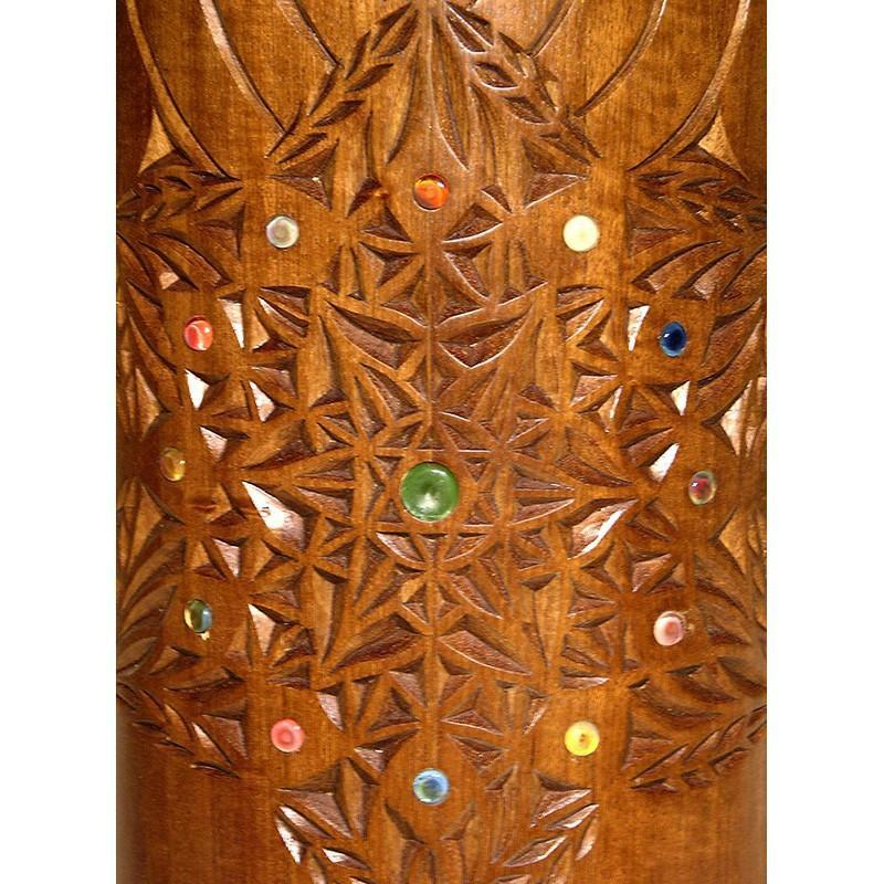 Wood Carved Round Torah Case - Sefardic Torah Case