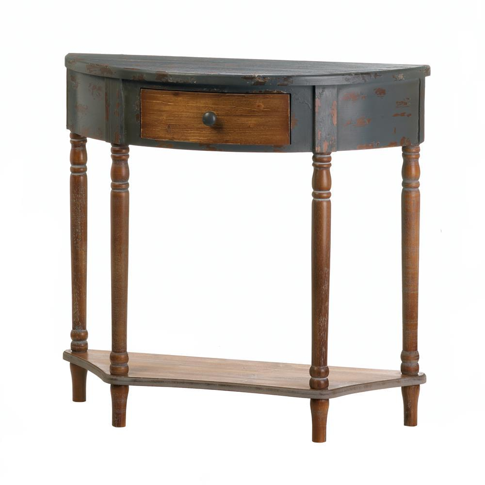 Wood Half Moon Hall Table Home Decor