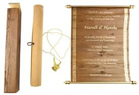 "Wooden Boxed Printed Scroll Invitations S534 - 8.5"" x 5.5"""