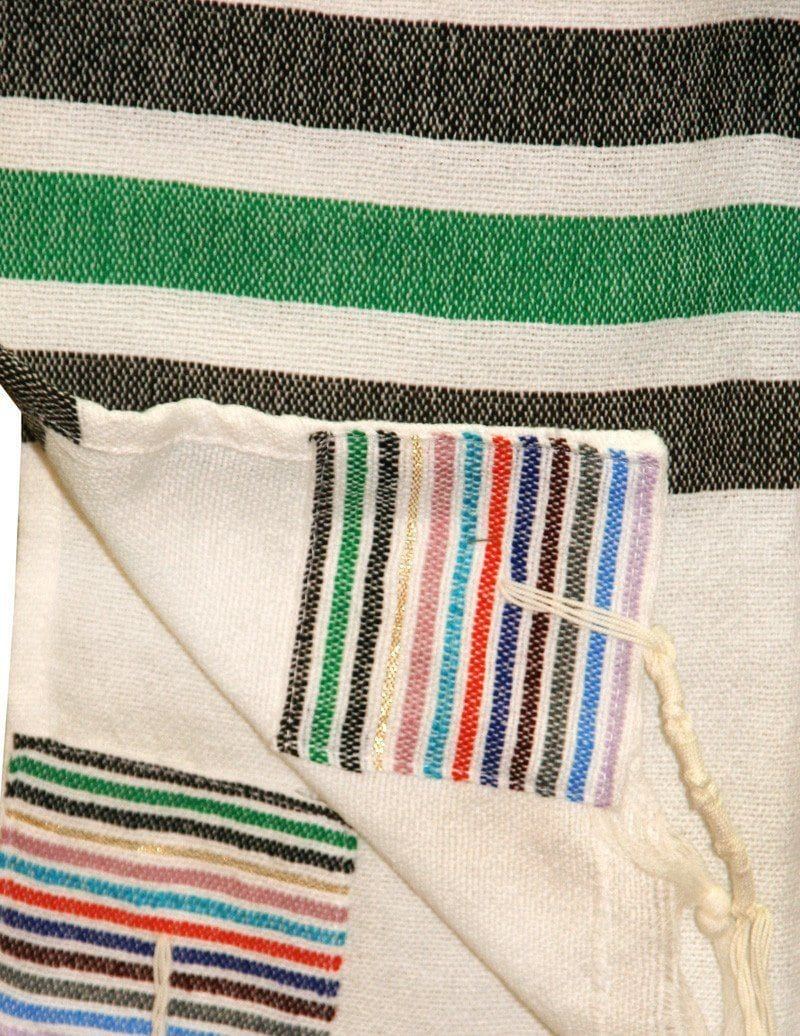 Wool Tallit - 12 Stripes on White Gabrieli Wool Tallit