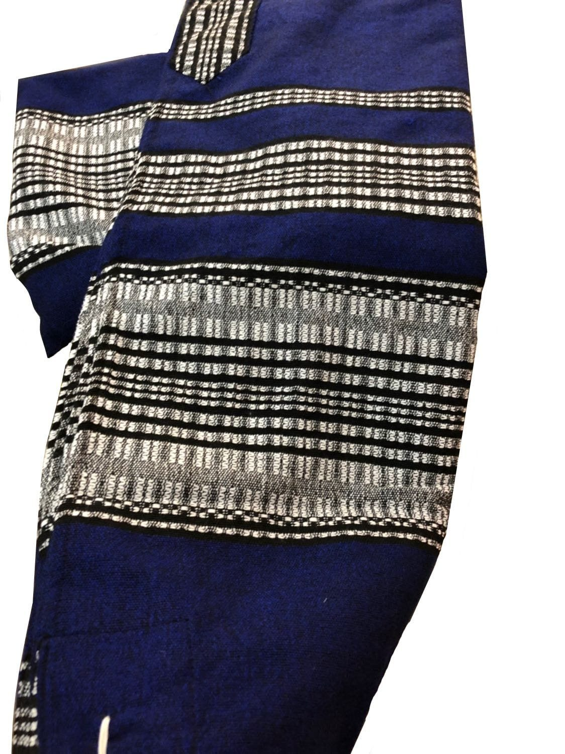 Wool Tallit - Blue with Grey & Black Scale Stripes Gabrieli Wool Tallit