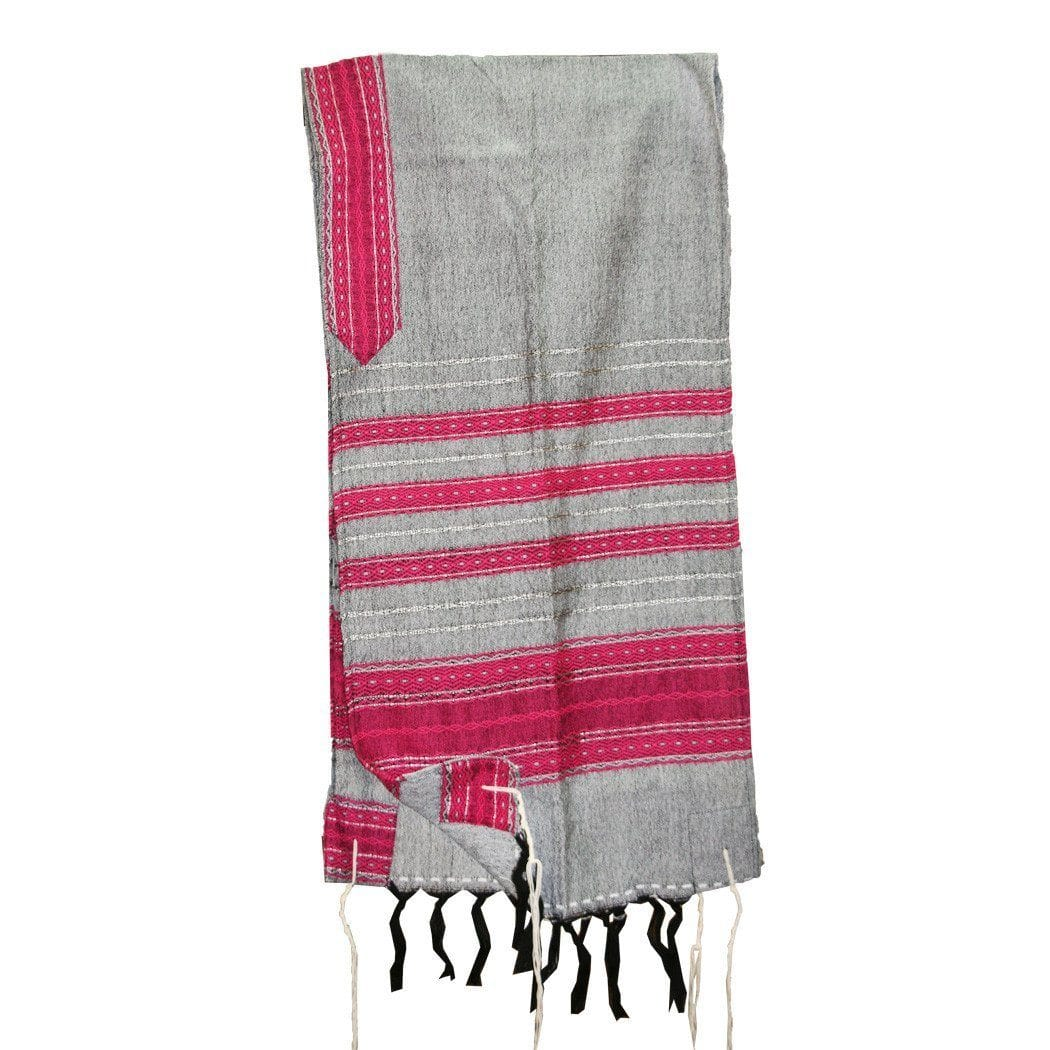 Wool Tallit - Pink on Grey Gabrieli Wool Tallit