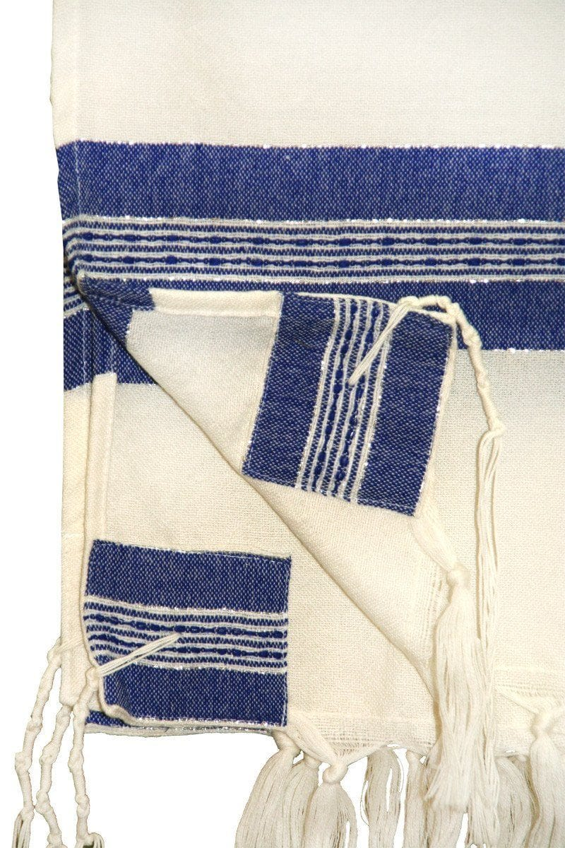 Wool Tallit - Wide Blue stripes on White with Silver Gabrieli Wool Tallit
