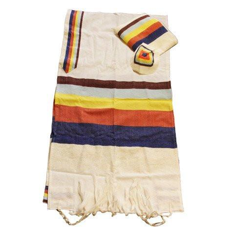 Wool Tallit - Wide Stripes on White Gabrieli Wool Tallit
