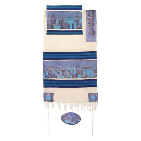 "Woven Cotton & Silk Tallit 21""X 77- Jerusalem"