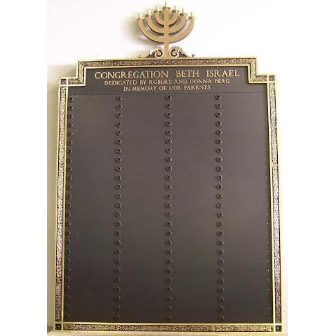 Yahrzeit Menorah Bronze Wall Tablet