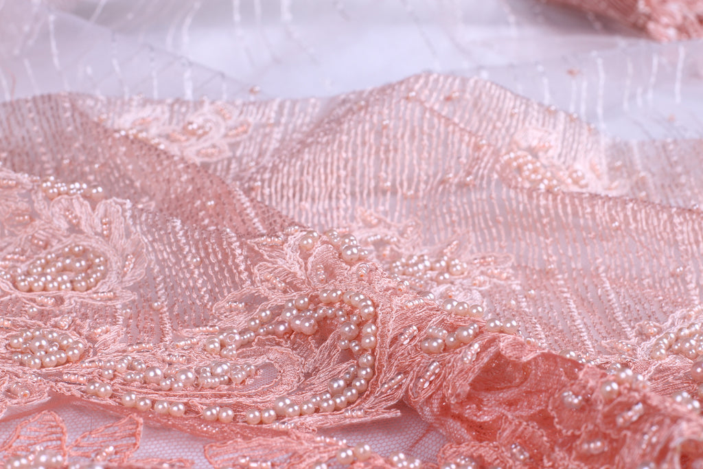 BPG190 Beaded Pearl Pink Dentelle and Tulle