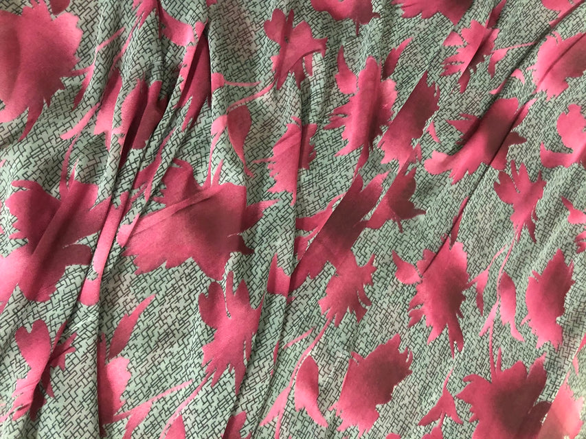 ZXQ858 Dark Gray Chiffon with Pink leaves