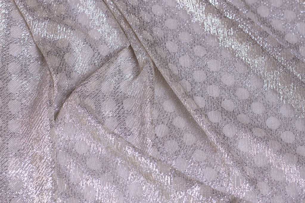 ZXQ280 Small Golden Dotted Stretch Beige Tulle