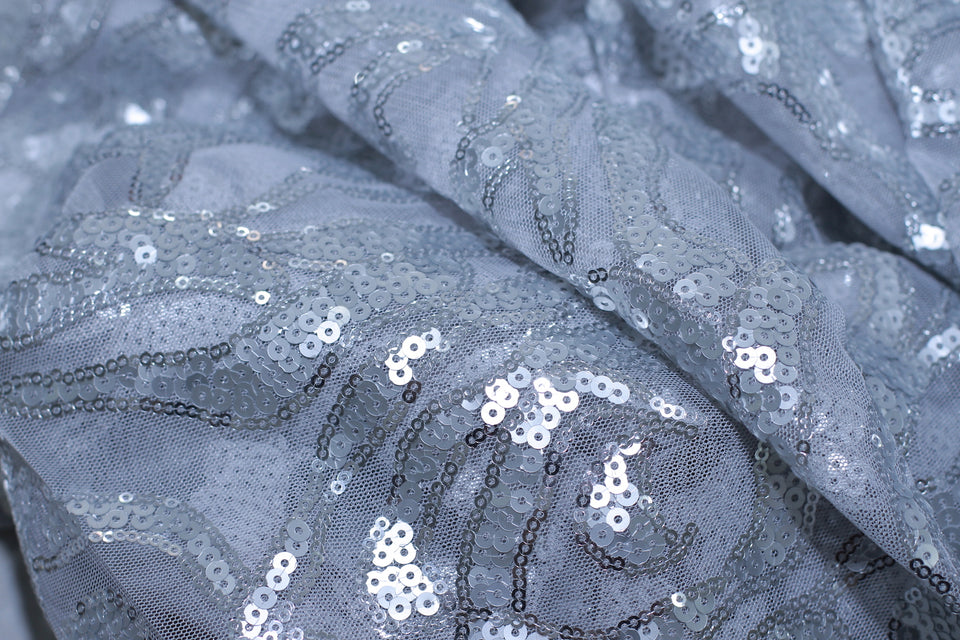 ZXQ631 Sequined Gray Tulle