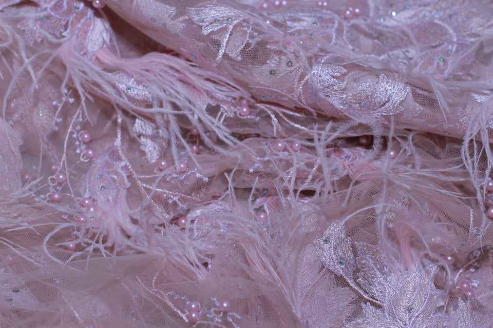 ZXQ614 Reality Feathered Pink Tulle